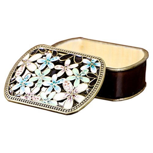 ColorSpring Small Jewelry Box Antique Flower Carved Decorative Trinket Box for Women Lady Gift