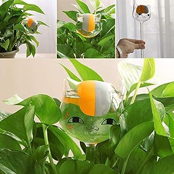 Hanbaili Planta de Vidrio en Forma de Gato Flor Riego Espiga Estaca Agua Comedero Casa Jardín: Amazon.es: Hogar