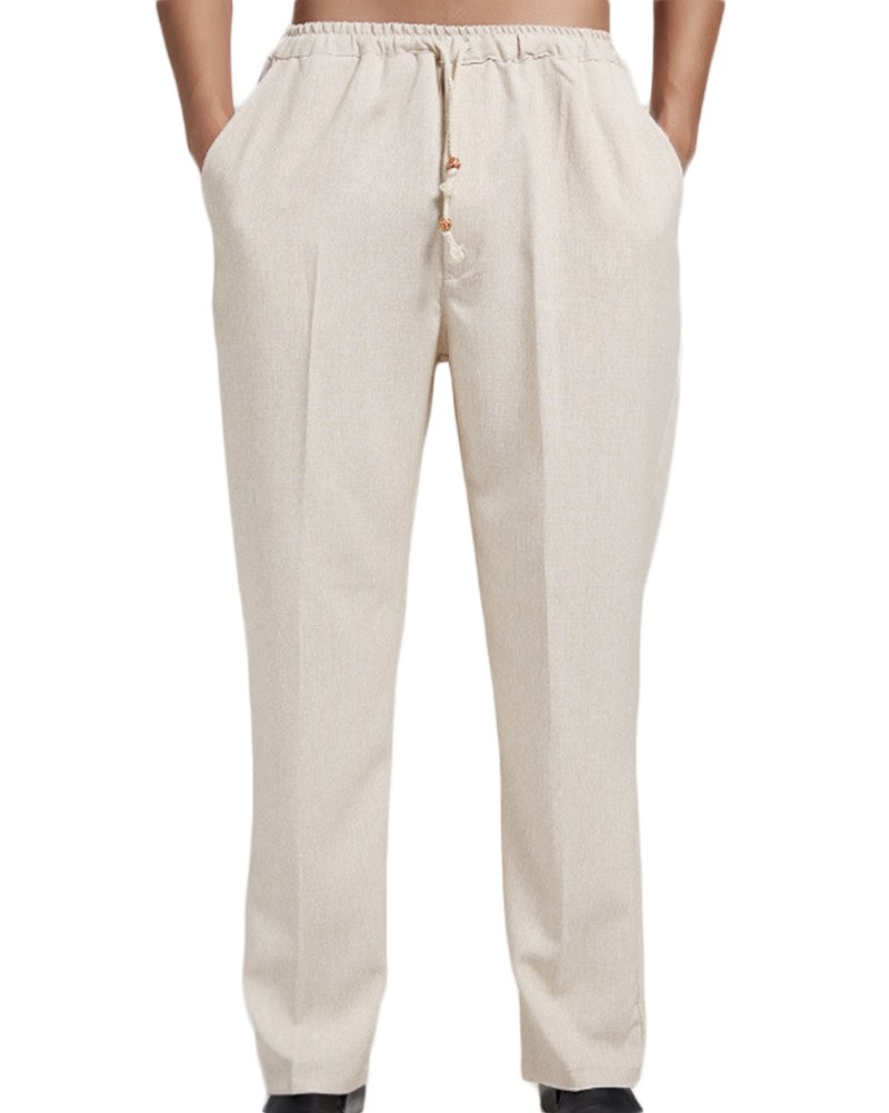 ONCEFIRST Men's Linen Pants With Drawstring Straight Pants Yoga Beach Summer Trousers Beige X-Large