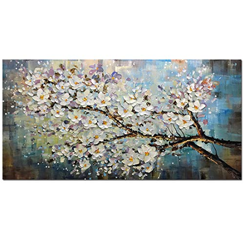 Fasdi-ART Paintings, 24x48 Inch Paintings,Oil Painting Landscape 3D Hand-Painted On Canvas Abstract Artwork Art Wood Inside Framed Hanging Wall Decoration Abstract Painting (DF024)