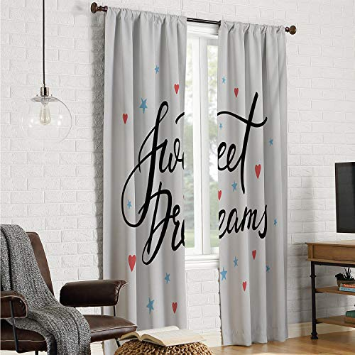 Kitchen/Bedroom Wall Curtain Sweet Dreams,Hand Written Style Motivational Quote Calligraphy with Little Stars and Hearts,Multicolor W96 x L108 Inch