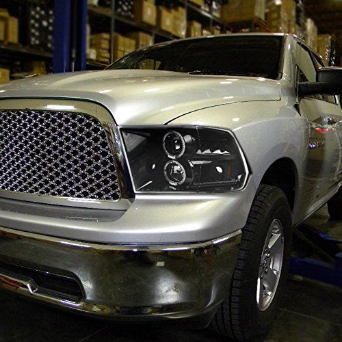 Dodge Ram 1500 2500 3500 Pickup Jet Black LED Dual Halo Projector Headlights by Spec-D Tuning