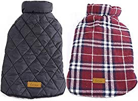 Kuoser Cozy Waterproof Windproof Reversible British Style Plaid Dog Vest Winter Coat Warm Dog Apparel Cold Weather Dog...