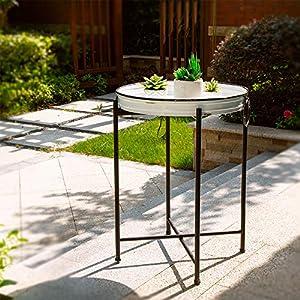 "Glitzhome Foldable Rustic TV Tray Accent End Table Farmhouse Metal Enamel Decor Sofa Side Table, 24.41"" H"