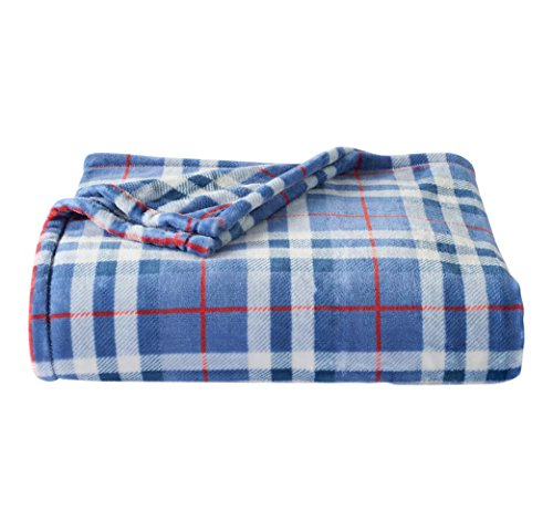 The Big One Soft Plush Throw Blanket Oversized 60 x 72 inches (Blue Plaid) (Blanket One Big The Throw)