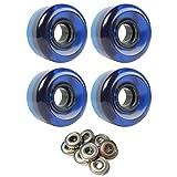 TGM Skateboards Skateboard Cruiser Wheels 58mm x 36mm 83A 300C Blue Clear ABEC 7 Bearings