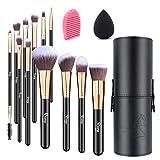 Qivange Makeup Brushes, Professional Foundation Eyeshadow Blending Brushes Set with Brush Holder+ Sponge
