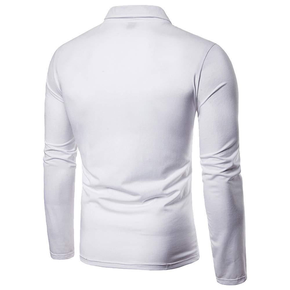 Longra Mens Autumn Winter mesh Gauze Stitching Lapel Long-Sleeved Shirt Mens Casual Long-Sleeved Shirt