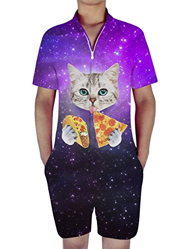 RAISEVERN Mens Funny Space Pizza Cat Print Zip Up Jumpsuit Short Cargo Pants Rompers Slim Fit Party Overalls Boyfriend Shorts