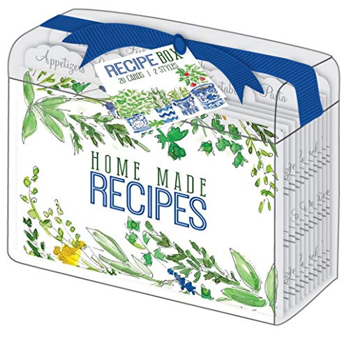 (Rosanne Beck Collections Herbs Wildflowers Clear Acrylic Lucite Recipe Box with 10 Recipe Dividers and 20 Recipe Cards)