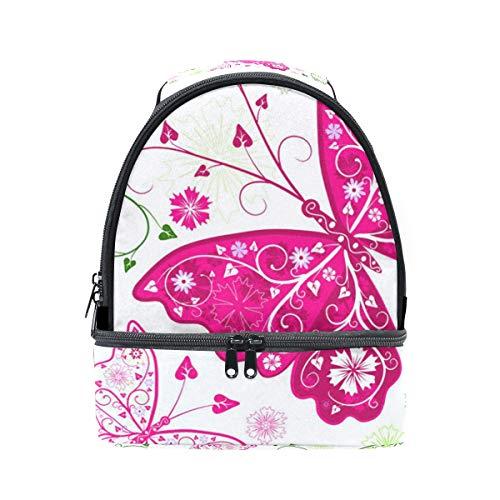 Alinlo Papillon avec imprimé floral Boîte à lunch Sac isotherme Cooler Tote avec bandoulière réglable pour Pincnic à l'école
