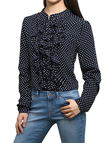 Allegra K Polka Dot Print Ruffled Front Half-Button Placket Blouse Blue XS (Print Front Placket)