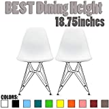 2xhome – Set of Two (2) White – Style Side Chair Chromed Wire Legs Eiffel Legs Dining Room Chair – Lounge Chair No Arm Arms Armless Less Chairs Seats Wooden Wood Leg Wire Leg For Sale