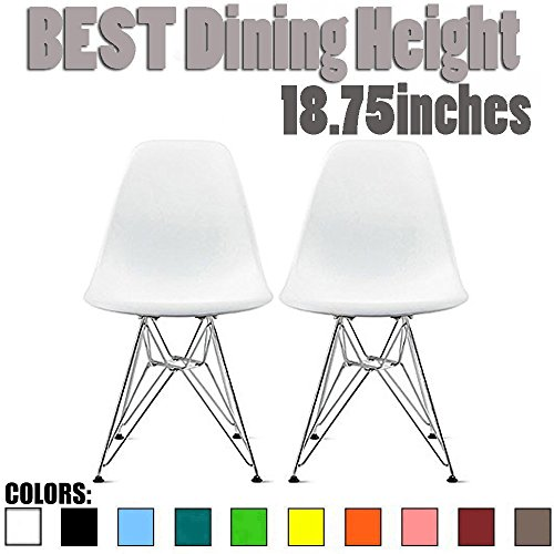 2xhome - Set of Two (2) White - Style Side Chair Chromed Wire Legs Eiffel Legs Dining Room Chair - Lounge Chair No Arm Arms Armless Less Chairs Seats Wooden Wood Leg Wire Leg