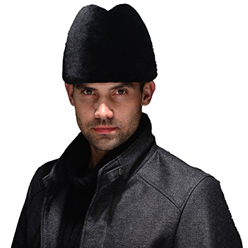 URSFUR Mouton Sheepskin Russian Cossack Hat (One Size, Black) by URSFUR