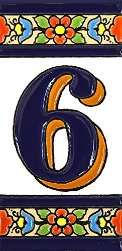 House numbers 4 inch. Handpainted house number tiles for signs, addresses and names. Address numbers for houses. House address numbers and letters. Design FLORES MEDIANO 4,29