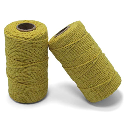 (Yzsfirm 2 Roll 2mm Cotton Twine Rope,656 Feet Yellow Bakers Twine String for DIY Crafts and Gift Wrapping)