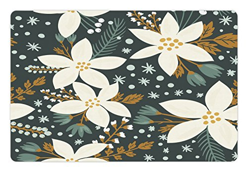 (Ambesonne Floral Pet Mat for Food and Water, Hand Drawn Poinsettia Flowers Garden Blossoms Hawaiian Inspired Art Print, Rectangle Non-Slip Rubber Mat for Dogs and Cats, White and Caramel)