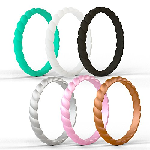 ckable Silicone Wedding Ring for Women,Twist Braided Band Rings,Size 4-9 (Z:Black,White,Silver,Rose Gold,Turquoise,Copper, 6) ()