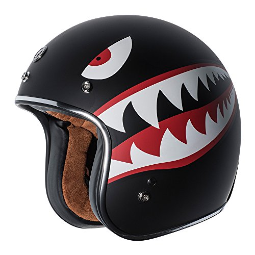 Tiger Helmet - TORC T50 Route 66 3/4 Helmet with 'Flying Tiger' Graphic (Flat Black, Large)