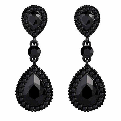 (BriLove Wedding Bridal Dangle Earrings for Women Crystal Teardrop Infinity Figure 8 Earrings Black Black-Silver-Tone)