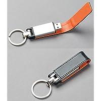 Premium Black Leather/Orange Trim Key Fob Flash Mermory Drive 128GB