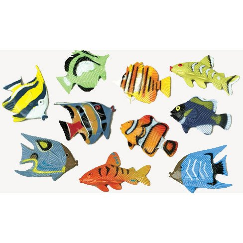 US Toy Assorted Color and Design Tropical Fish Figure Play Set (Lot of 12)