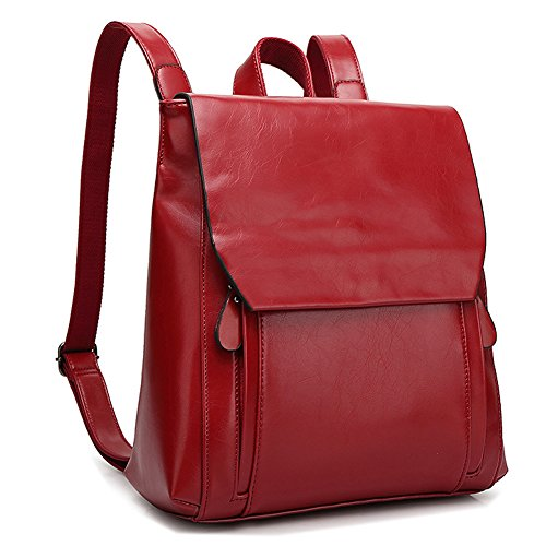 YiYiNoe Minimalist Retro PU Leather Backpack Purse Casual Daypacks for Girls Womens Wine Red