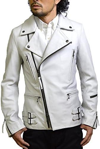 メンズ革ジャン ライダースジャケット メンズ 本革 白 ホワイト Haruf ハルフ TQPUK1
