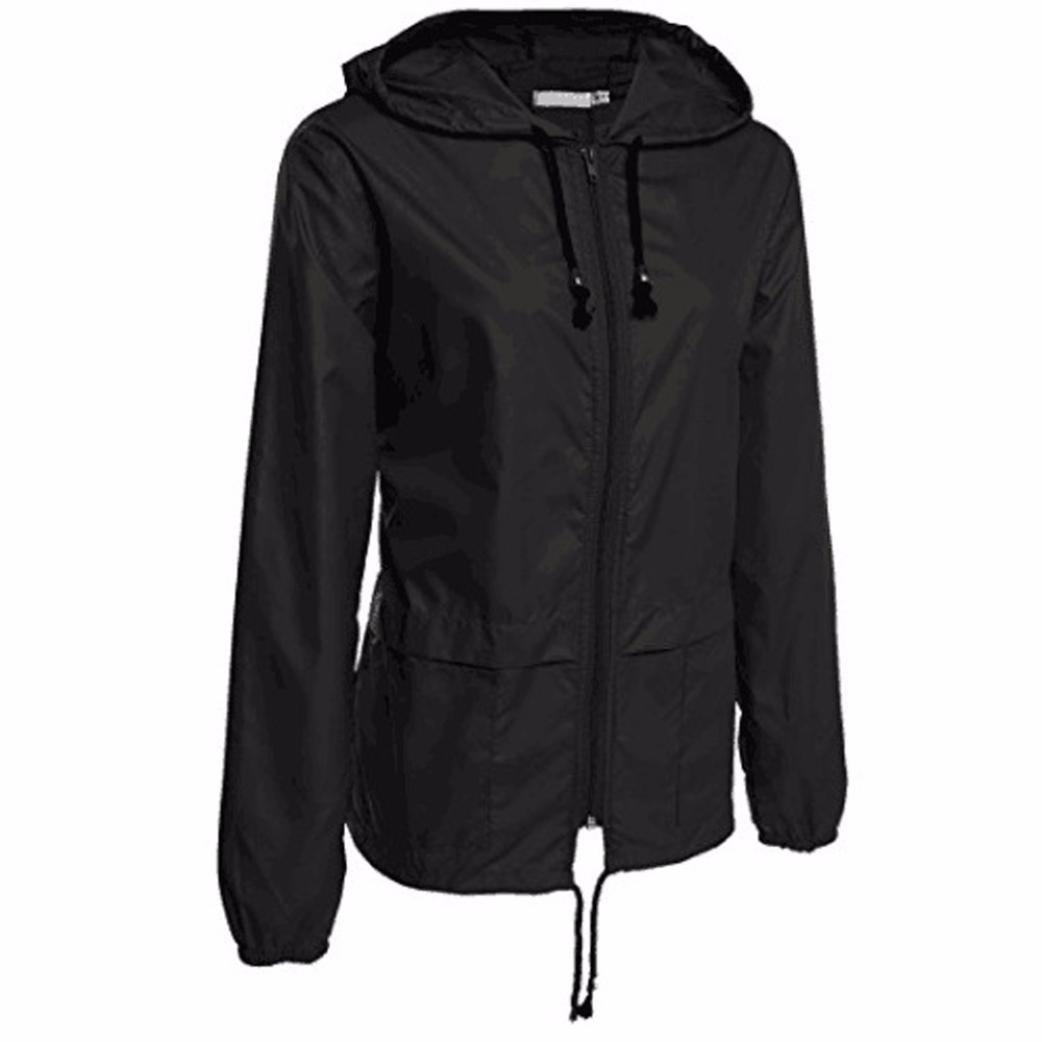 レディースWind Resistanceコート、todaiesレディース軽量雨ジャケットアウトドアPackable防水フード付きレインコート B077833Q7D Medium|ブラック ブラック Medium