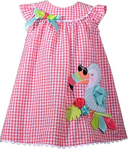 Bonnie Jean Baby Girls Plaid Toucan Seersucker Dress 24 Months Pink Multi ()