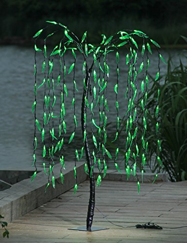LIGHTSHARE 5.5 Feet Willow Tree Light, Green Light for Summer Home Garden Decoration,Wedding,Birthday,Christmas,Holiday,Party Decoration (Christmas Outdoor Illuminated Decorations)