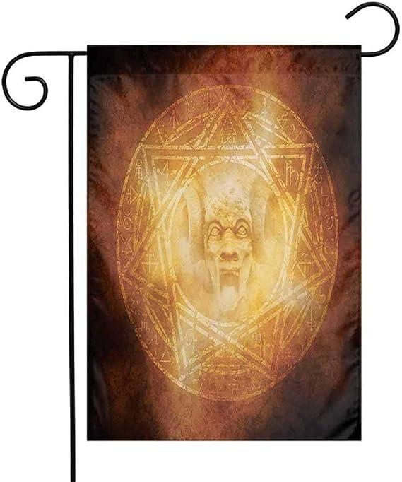 Bandera de jardín con diseño de Demonio de la Marca Horror House, con Logotipo de la Ceremonia Espeluznante y Ritual: Amazon.es: Jardín