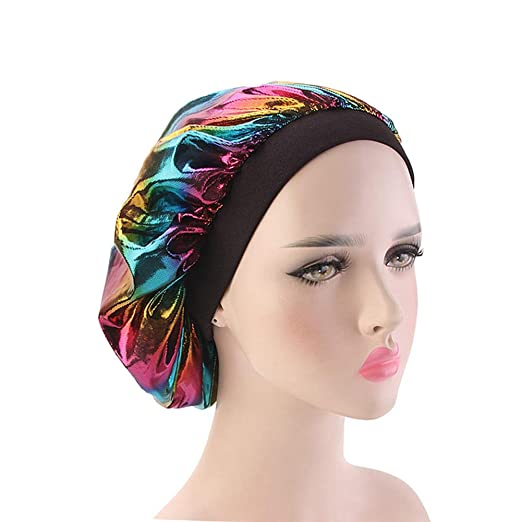 80d220d1ec1 Holographic Satin Nightcap Wide Band Sleep Cap Bonnet Hat for Frizzy  Natural Hair Curly Hair Loss
