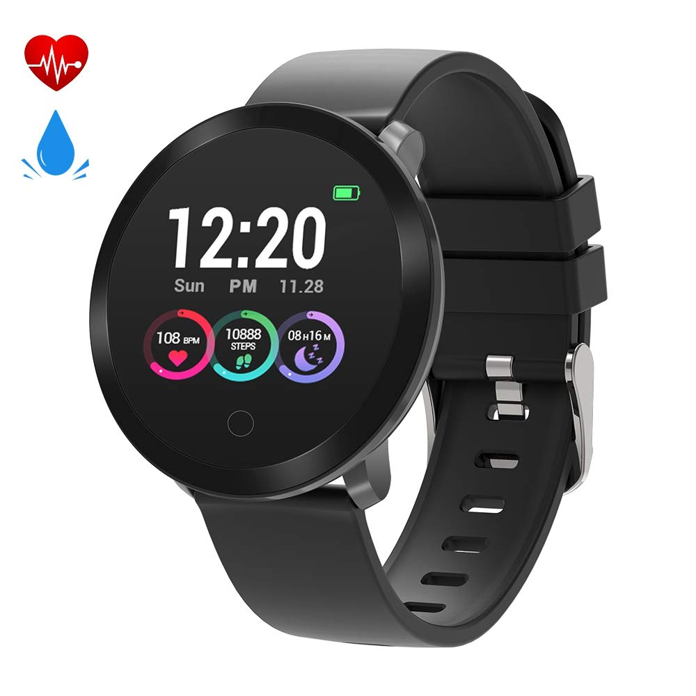 moreFit Halo Fitness Tracker HR, Activity Tracker Smart Watch with Heart Rate Monitor, Waterproof IP68 Smart Fitness Band with Sleep Tracker, Calorie Counter, Pedometer Watch for Kids Women Men(Black)