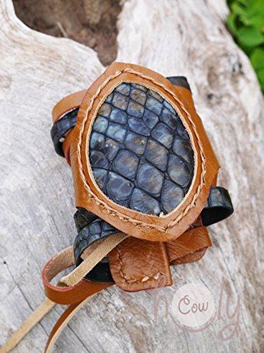 Handmade Medieval Blue Snake Print Leather Wrist Cuff