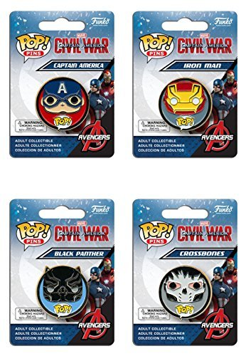 Captain America: Civil War Captain America, Black Panther, Iron Man and Crossbones Pop! Pins Set of 4 - Crossbones Pin