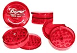 weed grinder acrylic - Red Beamer 62mm 3 Piece 55 Pyramid Shaped Teeth (Prevents Breaks) VIRGIN ACRYLIC Grinder / Spice Mill with Storage Compartment, Neodymium Magnet. For Tobacco, Coffee, Herbs, Spices + Beamer Sticker