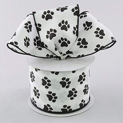 White Satin with Black Paw Prints 2.5