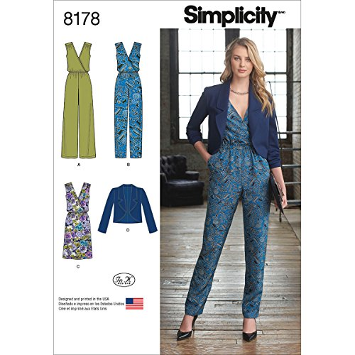 (Simplicity 8178 Women's Jumpsuit, Dress, and Jacket Sewing Patterns for Women by In K, Sizes H5 (6-14).)