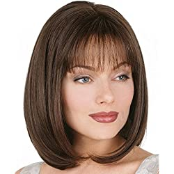 LANDI Fashion Bob Wig for White Women Kinky Curly Brown Lace Front Wig Synthetic Hair Spiral Curls Natural Hairline Wigs