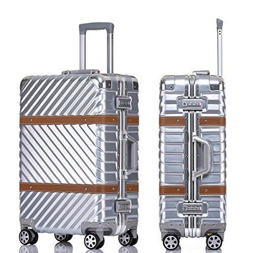 Aluminum Alloy Frame - Sindermore polycarbonate VS aluminum alloy frame luggage (20 inch, Silver)