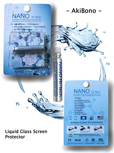 Liquid Glass Screen Protector by AkiBono Titanium Dioxide Scratch Resistant Invisible Armor Military Grade Nano-tech for All Smart Phones, Smart Watches, Tablets, Fits All Curved Screens. (Smartphone Glass Screen Protector)