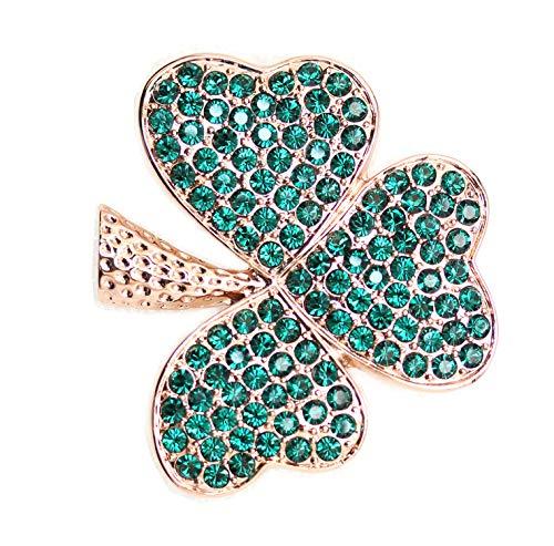 - Faship Gorgeous Green Shamrock Clover Leaf Pin Brooch - Emerald-3 Leaf/Rose-Gold-Plated
