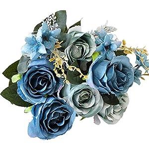 Sunlightam Artificial Flowers, Budding Fake Flowers 9 Heads Silk Roses Bridal Home Garden Office Dining Table Wedding Decor 44