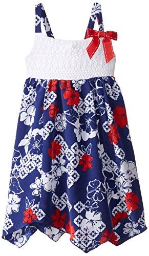 Youngland Little Girls' Crochet Bodice Bandana Print Sundress, Red/White/Blue, 6X