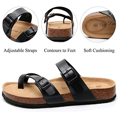 Women's Arizona Cork Footbed Sandals - Slip on EVA Sandals with Adjustable Buckle Straps for Women/Ladies, Arch Support