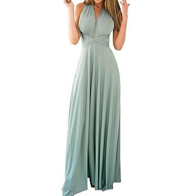 29087f5ef9c Damen Kleid SUCES Frauen Sexy Schlinge Maxikleid Trägerlos Off Shoulder  Zurück Hollow Out Krawatte Boho Dress
