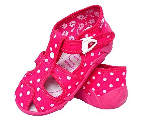 Renbut Baby Mädchen Kinder Kinderschuhe Hausschuhe Sandalen Punkte Pink Weiß Schnalle Innensohle Leder Kindergartenschuhe Pink
