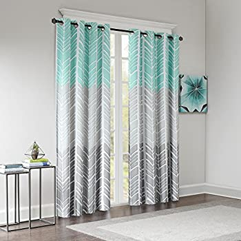 Intelligent Design Blackout Curtains For Bedroom Casual Aqua Grey Window Living Room Family
